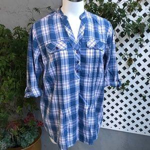 DRESSBARN Blue Pink 3/4 Sleeve Flannel Tunic 14/16